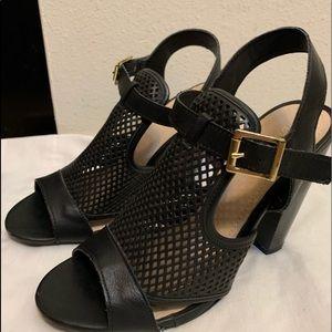 Black Bamboo chunky heel